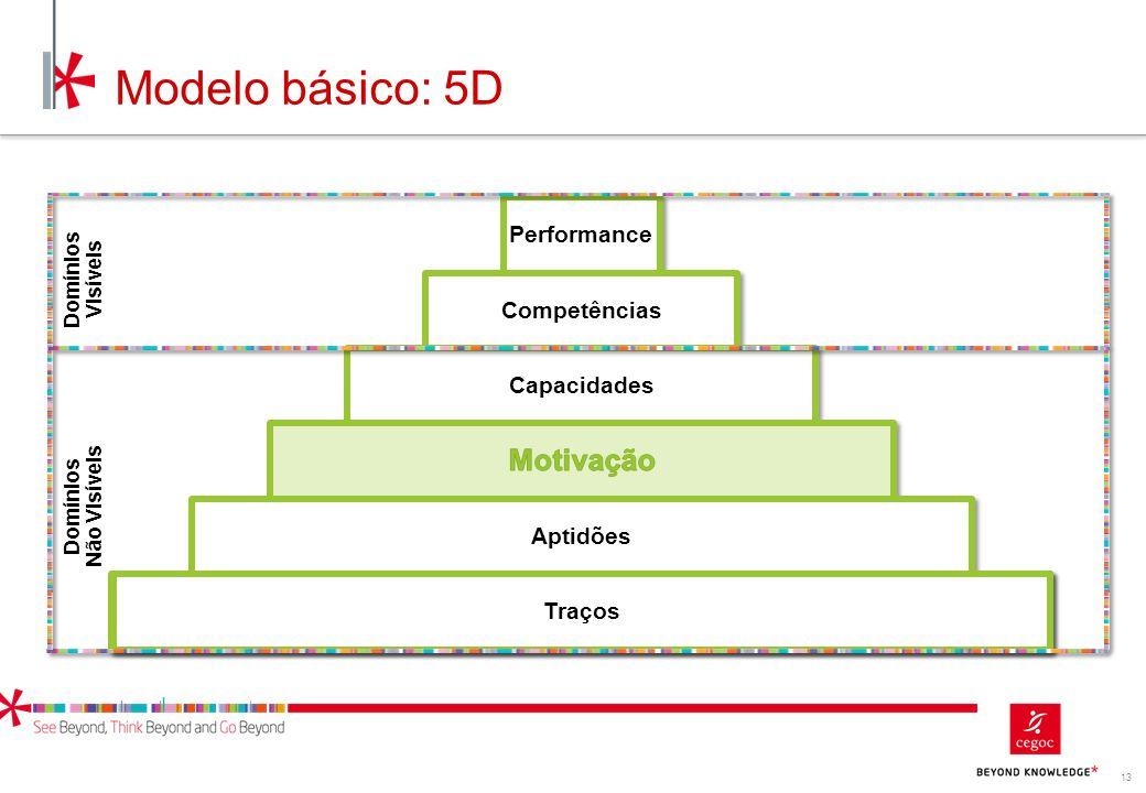 13 Traços Modelo básico: 5D Performance Competências Capacidades Aptidões Traços Domínios Não Visíveis Domínios Visíveis