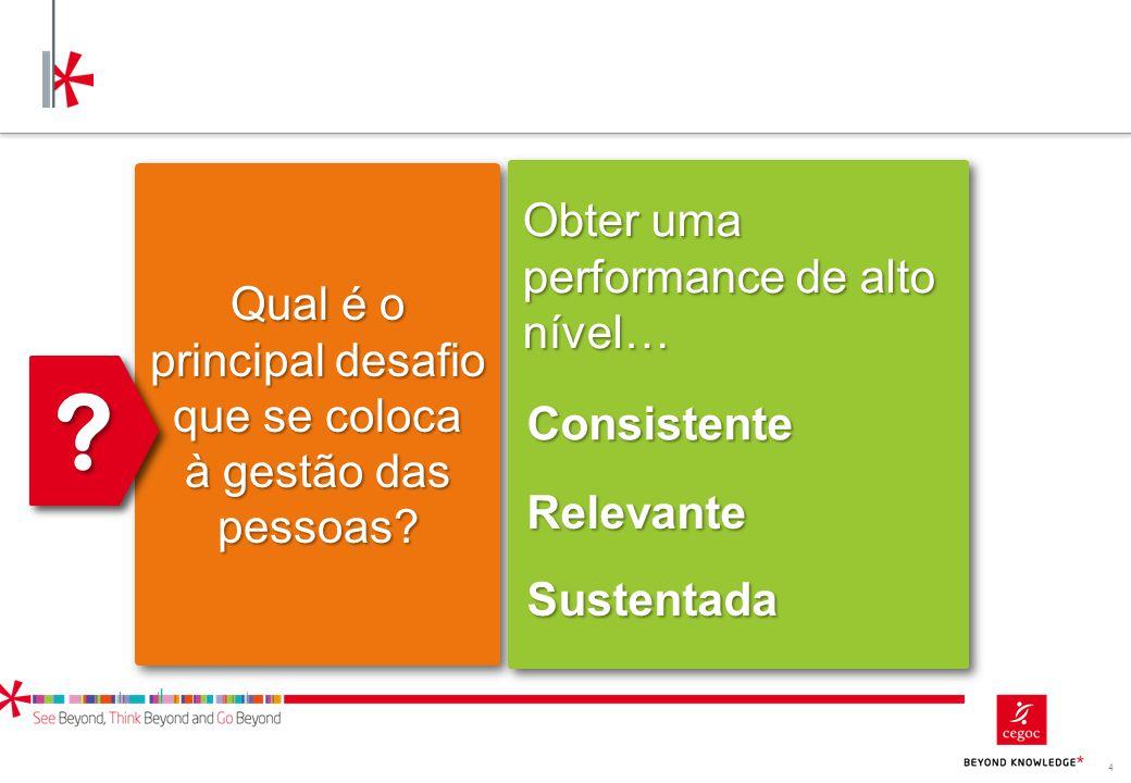 4 Qual é o principal desafio que se coloca à gestão das pessoas? ?? Obter uma performance de alto nível… Consistente Relevante Sustentada