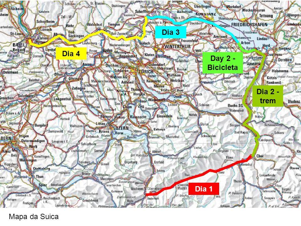 Dia 1 Dia 2 - trem Day 2 - Bicicleta Dia 3 Dia 4 Mapa da Suica
