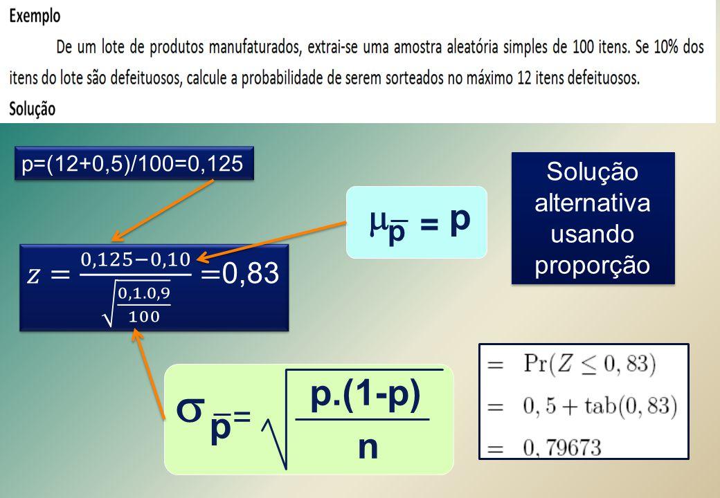 p=(12+0,5)/100=0,125  = p n p.(1-p)  = p p Solução alternativa usando proporção