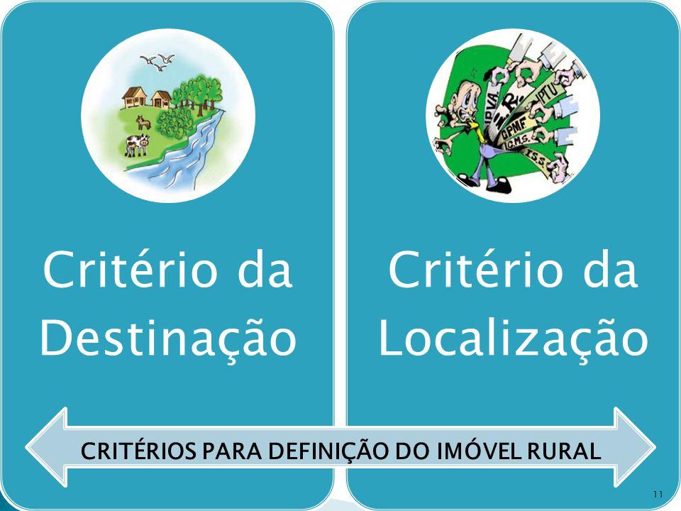 Critério da Destinação Critério da Localização CRITÉRIOS PARA DEFINIÇÃO DO IMÓVEL RURAL 11