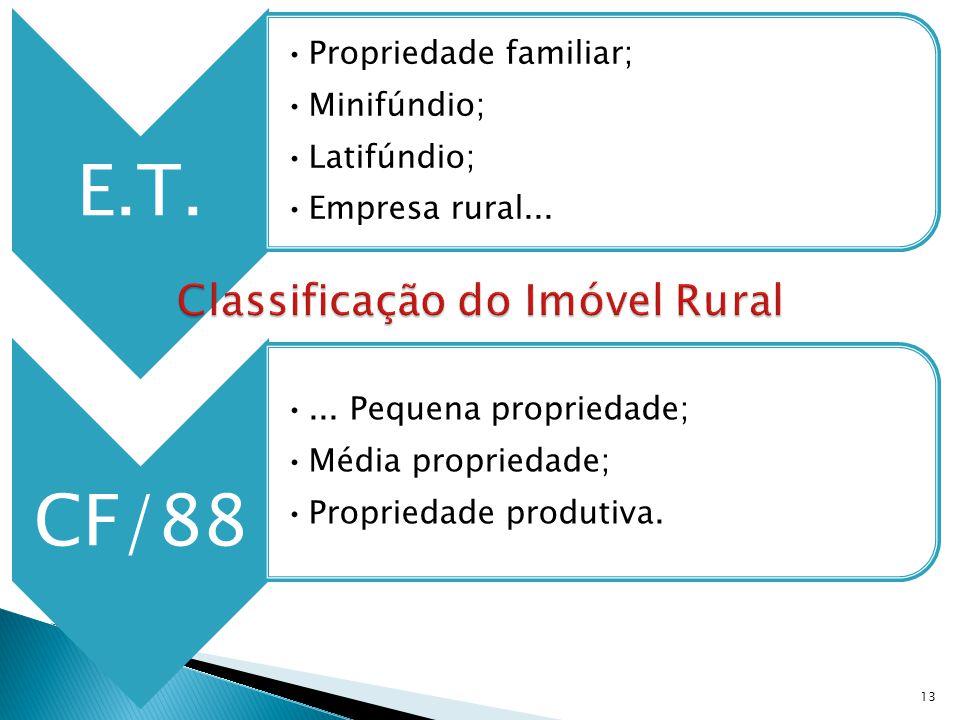 E.T. Propriedade familiar; Minifúndio; Latifúndio; Empresa rural... CF/88... Pequena propriedade; Média propriedade; Propriedade produtiva. 13
