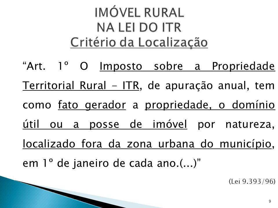 """""""Art. 1º O Imposto sobre a Propriedade Territorial Rural - ITR, de apuração anual, tem como fato gerador a propriedade, o domínio útil ou a posse de i"""