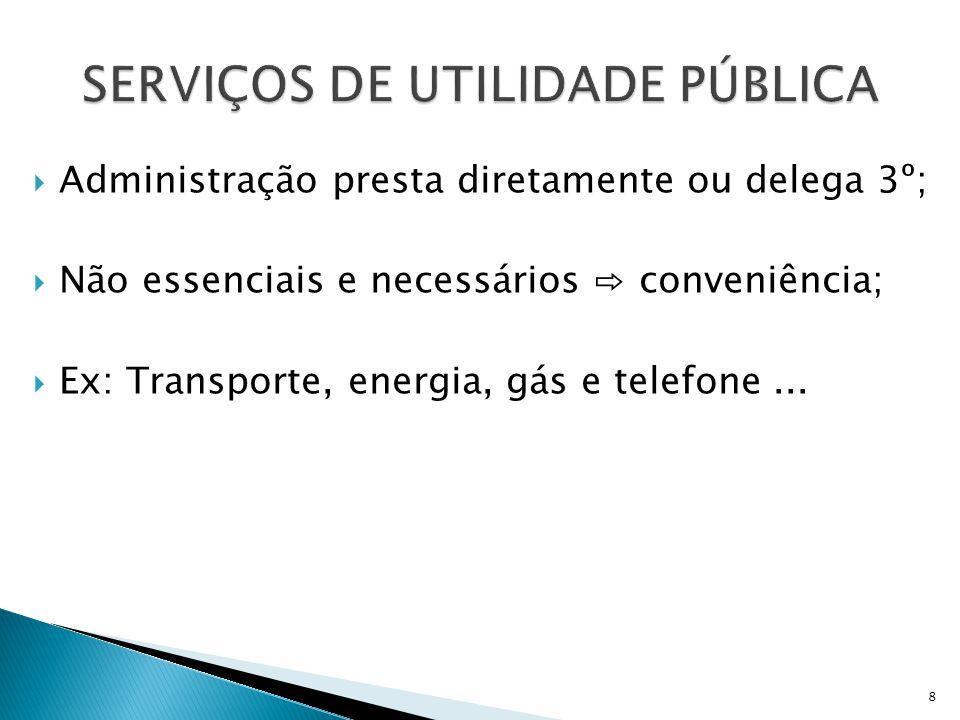  PRIVATIVOS DO PODER PÚBLICO  Administração presta diretamente;  Atribuições do Poder Público;  Adm.