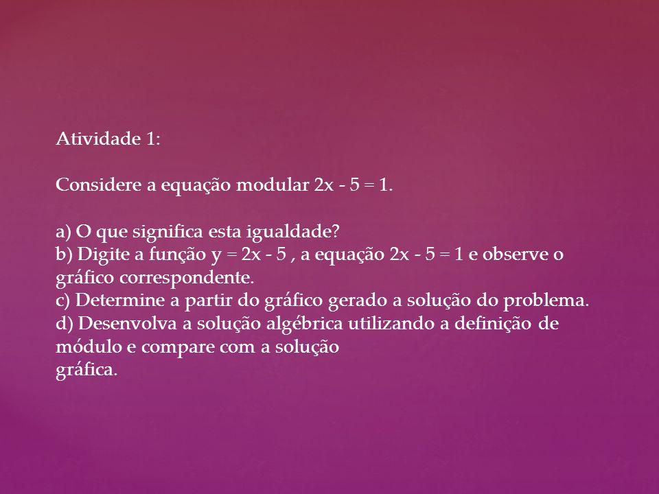 Atividade 1: Considere a equação modular 2x - 5 = 1. a) O que significa esta igualdade? b) Digite a função y = 2x - 5, a equação 2x - 5 = 1 e observe