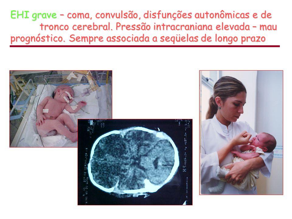 Ideal  entre 2º e 4º dias Fonte: Hill &Volpe, in Neonatologia, fisiopatologia e tratamento do recém-nascido, Avery, Fletcher e Mcdonald Medsi, 1999 Diagnóstico por Imagem 4 dias Atenuação diminuída  (necrose + edema) 4 dias Atenuação diminuída  (necrose + edema) 4 meses Encefalomalácia multicística + atrofia 4 meses Encefalomalácia multicística + atrofia