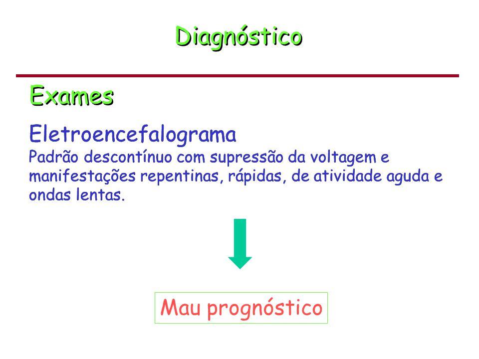 Patologia Tipos de lesões Necrose neuronal seletiva (córtex; tálamo; cerebelo; corno anterior da medula) Necrose neuronal seletiva (córtex; tálamo; cerebelo; corno anterior da medula) Lesão cerebral parassagital (junção das artérias cerebrais  hipotensão) Lesão cerebral parassagital (junção das artérias cerebrais  hipotensão) Estado marmóreo dos gânglios basais e do tálamo (necrose neuronal e da glia  aspecto de mármore) Estado marmóreo dos gânglios basais e do tálamo (necrose neuronal e da glia  aspecto de mármore) Necrose cerebral focal e multifocal (infarto multifocal anterior) Necrose cerebral focal e multifocal (infarto multifocal anterior) Leucomalácia periventricular (zonas arteriais terminais na subs.