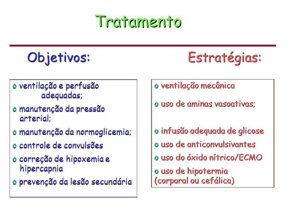 Tratamento o ventilação e perfusão adequadas; o manutenção da pressão arterial; o manutenção da normoglicemia; o controle de convulsões o correção de