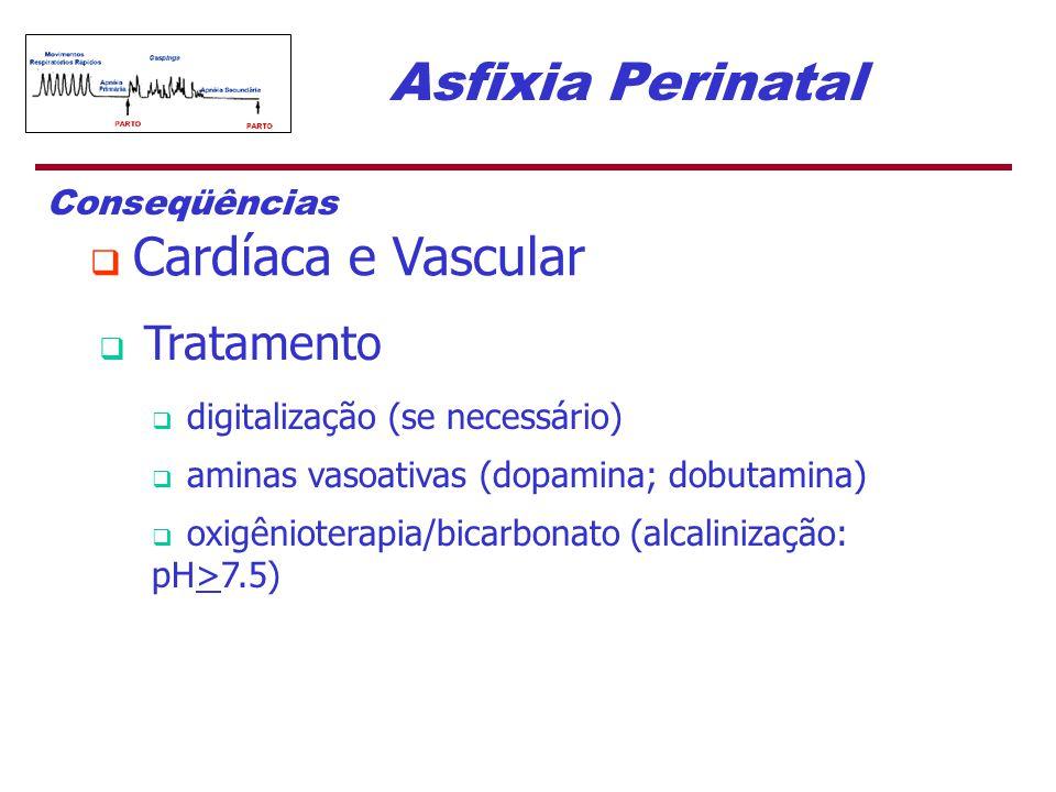 Asfixia Perinatal Conseqüências  Cardíaca e Vascular  Tratamento  digitalização (se necessário)  aminas vasoativas (dopamina; dobutamina)  oxigên