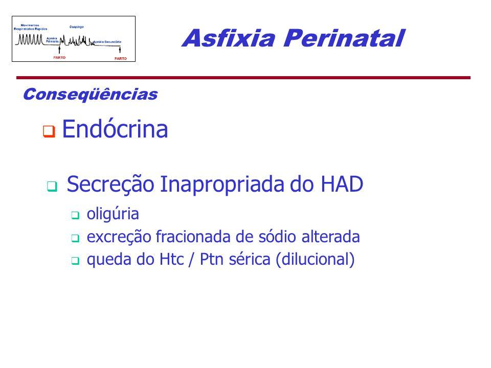 Asfixia Perinatal Conseqüências  Endócrina  Secreção Inapropriada do HAD  oligúria  excreção fracionada de sódio alterada  queda do Htc / Ptn sér