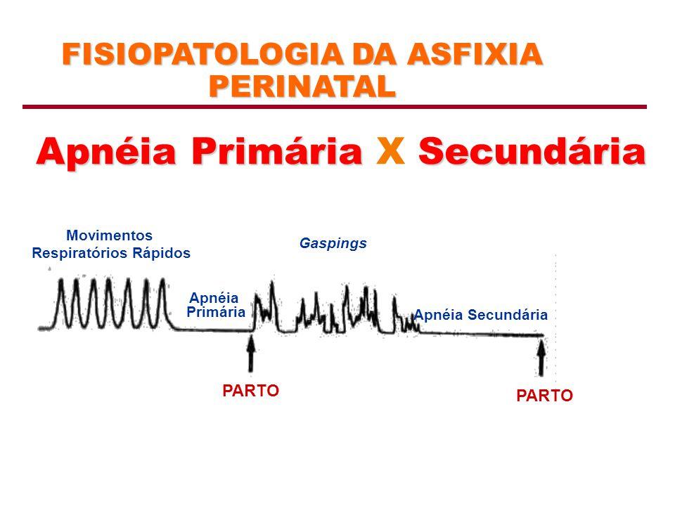FISIOPATOLOGIA DA ASFIXIA PERINATAL Apnéia PrimáriaSecundária Apnéia Primária X Secundária Movimentos Respiratórios Rápidos Apnéia Primária Apnéia Sec