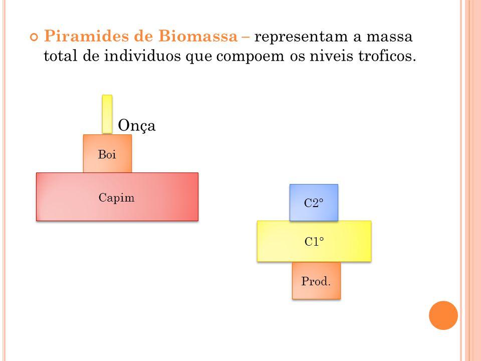 Piramides de Biomassa – representam a massa total de individuos que compoem os niveis troficos. Onça C1° Boi Capim C2° Prod.