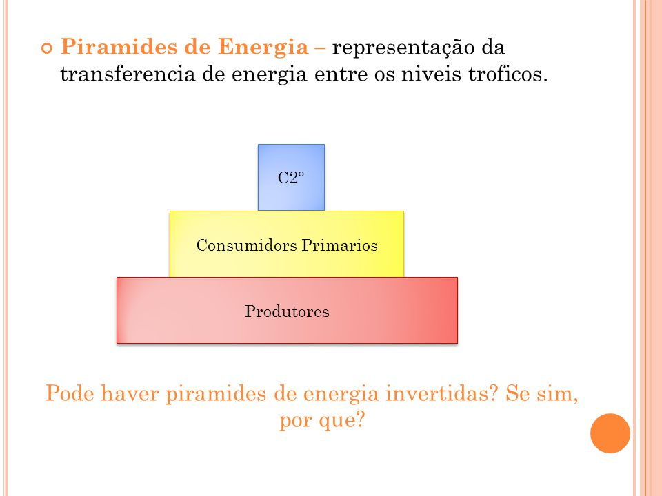 Piramides de Energia – representação da transferencia de energia entre os niveis troficos. Pode haver piramides de energia invertidas? Se sim, por que