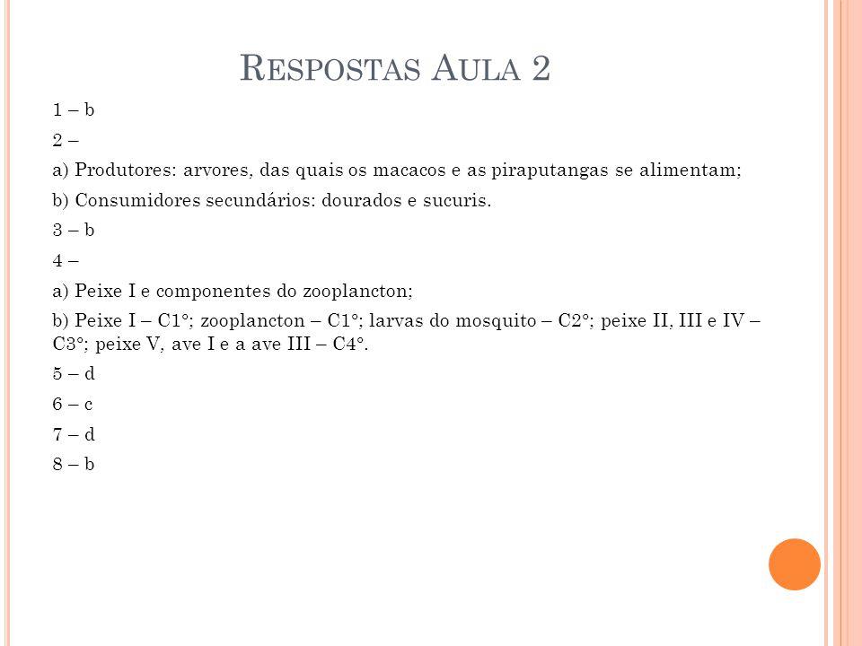 R ESPOSTAS A ULA 2 1 – b 2 – a) Produtores: arvores, das quais os macacos e as piraputangas se alimentam; b) Consumidores secundários: dourados e sucu