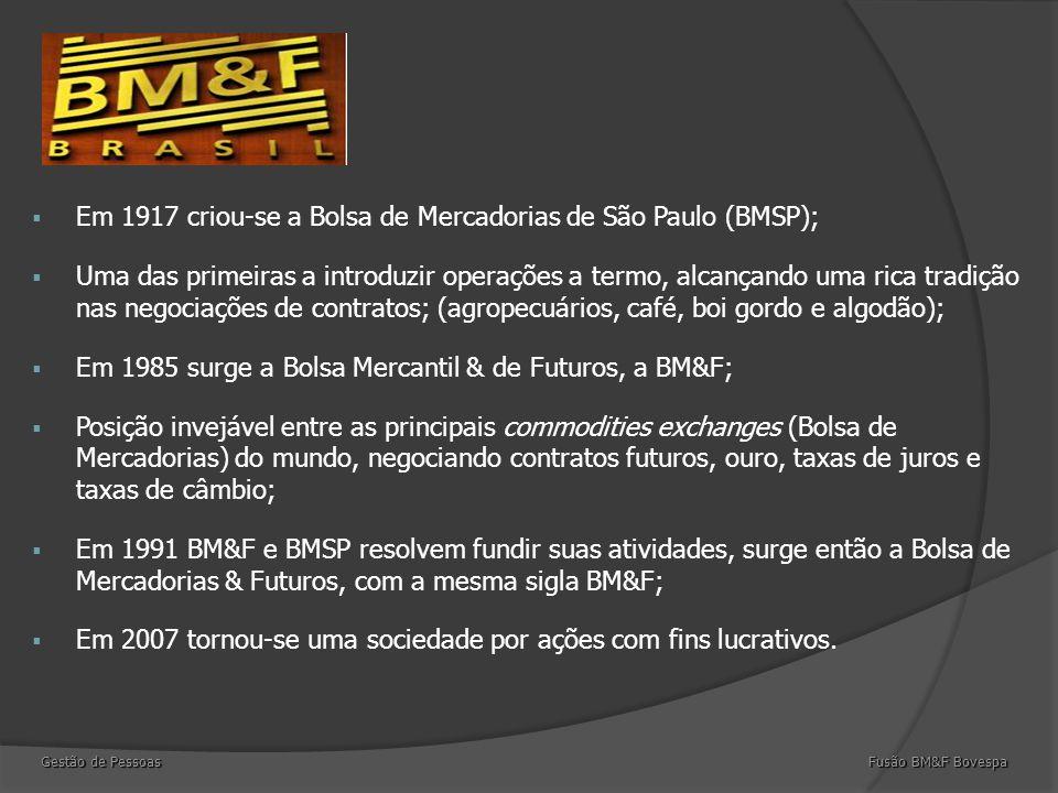  Em 1917 criou-se a Bolsa de Mercadorias de São Paulo (BMSP);  Uma das primeiras a introduzir operações a termo, alcançando uma rica tradição nas negociações de contratos; (agropecuários, café, boi gordo e algodão);  Em 1985 surge a Bolsa Mercantil & de Futuros, a BM&F;  Posição invejável entre as principais commodities exchanges (Bolsa de Mercadorias) do mundo, negociando contratos futuros, ouro, taxas de juros e taxas de câmbio;  Em 1991 BM&F e BMSP resolvem fundir suas atividades, surge então a Bolsa de Mercadorias & Futuros, com a mesma sigla BM&F;  Em 2007 tornou-se uma sociedade por ações com fins lucrativos.