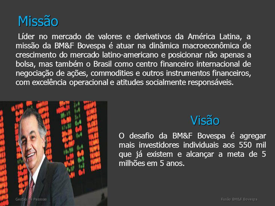 Visão Visão Gestão de Pessoas Fusão BM&F Bovespa Líder no mercado de valores e derivativos da América Latina, a missão da BM&F Bovespa é atuar na dinâmica macroeconômica de crescimento do mercado latino-americano e posicionar não apenas a bolsa, mas também o Brasil como centro financeiro internacional de negociação de ações, commodities e outros instrumentos financeiros, com excelência operacional e atitudes socialmente responsáveis.