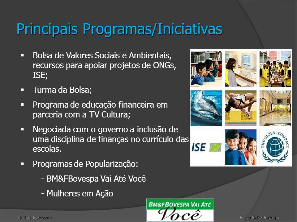 Principais Programas/Iniciativas  Bolsa de Valores Sociais e Ambientais, recursos para apoiar projetos de ONGs, ISE;  Turma da Bolsa;  Programa de educação financeira em parceria com a TV Cultura;  Negociada com o governo a inclusão de uma disciplina de finanças no currículo das escolas.