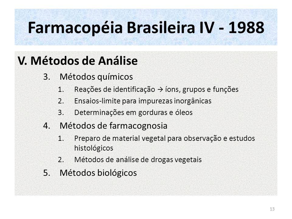 Farmacopéia Brasileira IV - 1988 Parte I - 1988 Conteúdo continuação VI.Procedimentos estatísticos aplicáveis aos ensaios biológicos VII.Radiofármacos VIII.Produção de discos e metodologia para teste de sensibilidade aos antibacterianos IX.Recipientes e materiais empregados na sua fabricação X.Métodos de preparação XI.Substâncias corantes XII.Reagentes XIII.Anexos 14