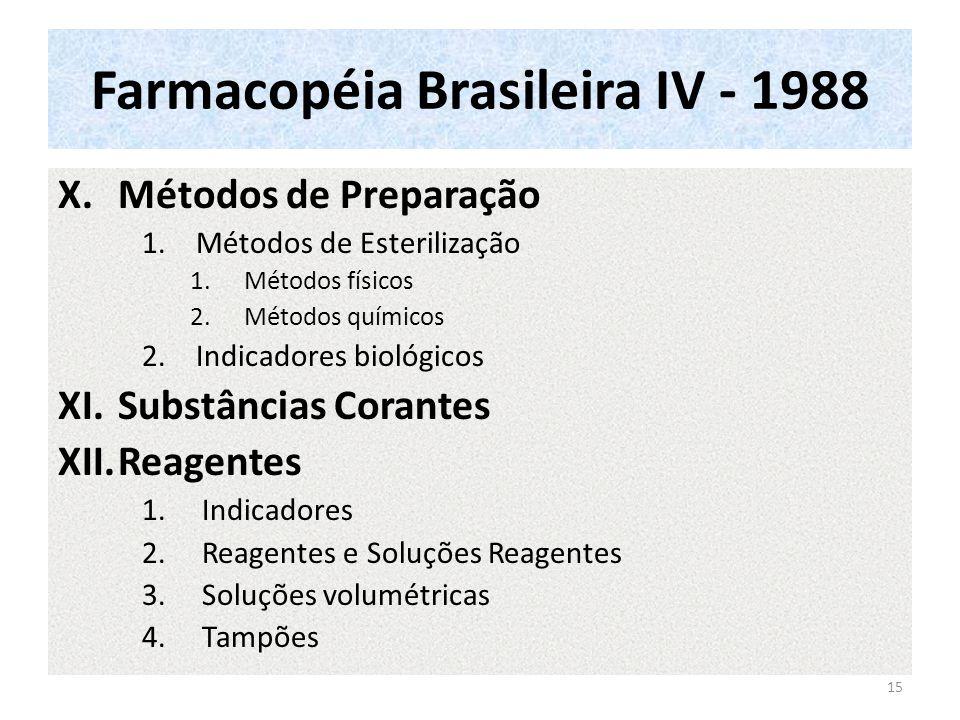 Farmacopéia Brasileira IV - 1988 X.Métodos de Preparação 1.Métodos de Esterilização 1.Métodos físicos 2.Métodos químicos 2.Indicadores biológicos XI.Substâncias Corantes XII.Reagentes 1.Indicadores 2.Reagentes e Soluções Reagentes 3.Soluções volumétricas 4.Tampões 15