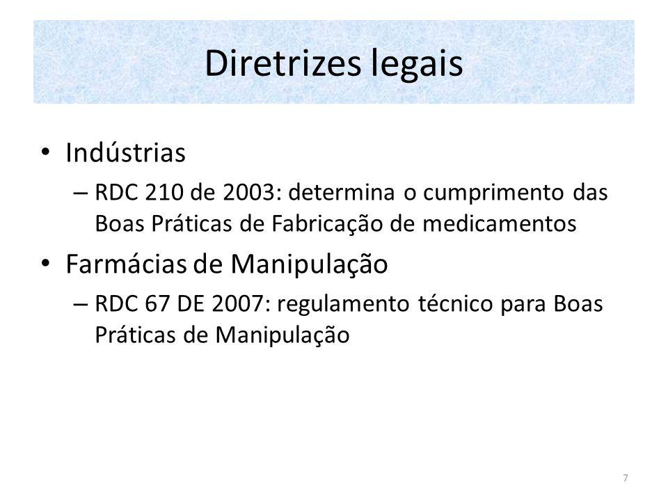 Diretrizes legais Indústrias – RDC 210 de 2003: determina o cumprimento das Boas Práticas de Fabricação de medicamentos Farmácias de Manipulação – RDC 67 DE 2007: regulamento técnico para Boas Práticas de Manipulação 7