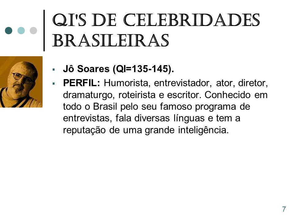 QI'S De Celebridades Brasileiras  Jô Soares (QI=135-145).  PERFIL: Humorista, entrevistador, ator, diretor, dramaturgo, roteirista e escritor. Conhe