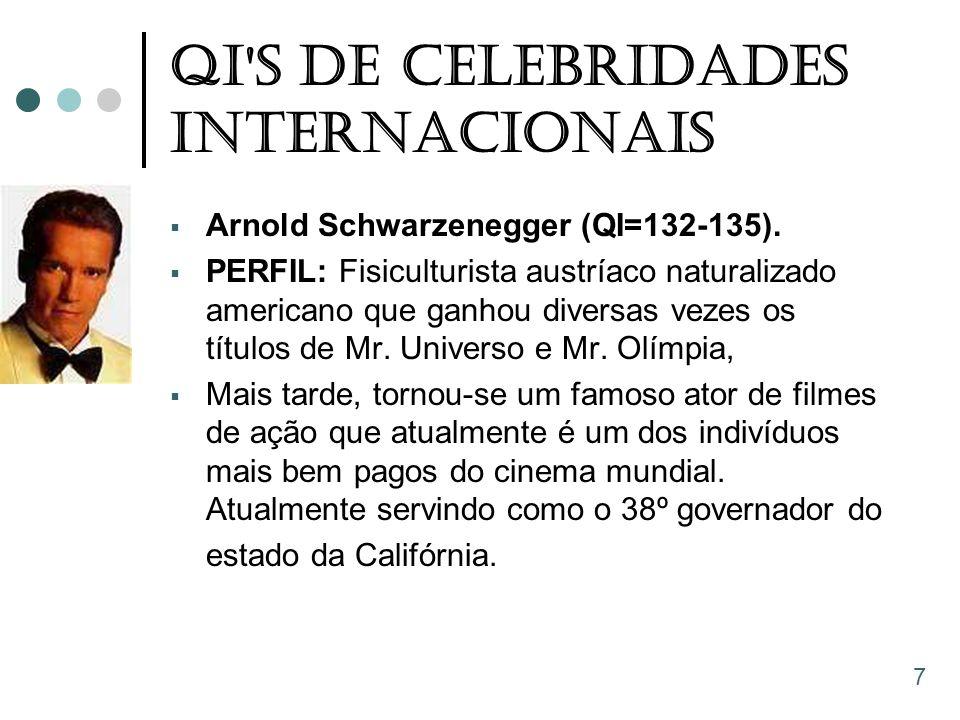 QI'S De Celebridades Internacionais  Arnold Schwarzenegger (QI=132-135).  PERFIL: Fisiculturista austríaco naturalizado americano que ganhou diversa