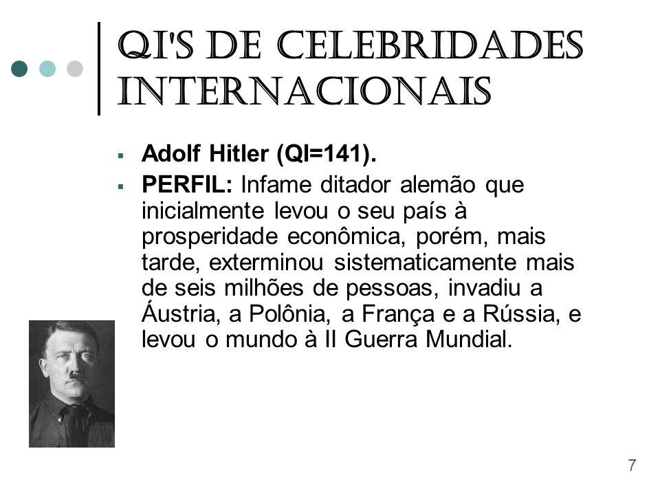 QI'S De Celebridades Internacionais  Adolf Hitler (QI=141).  PERFIL: Infame ditador alemão que inicialmente levou o seu país à prosperidade econômic