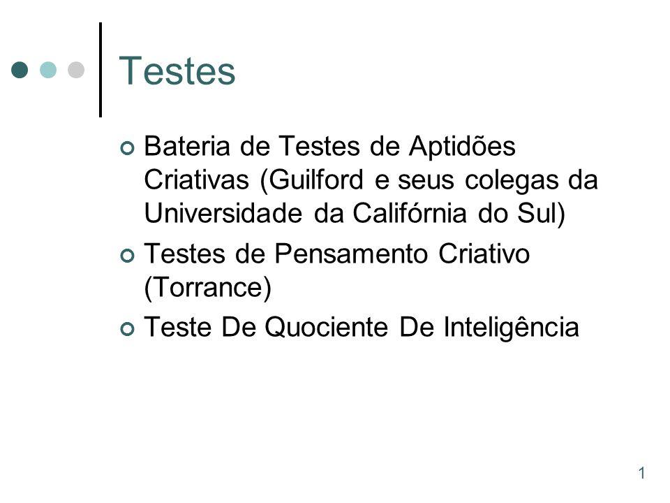 Testes Bateria de Testes de Aptidões Criativas (Guilford e seus colegas da Universidade da Califórnia do Sul) Testes de Pensamento Criativo (Torrance)
