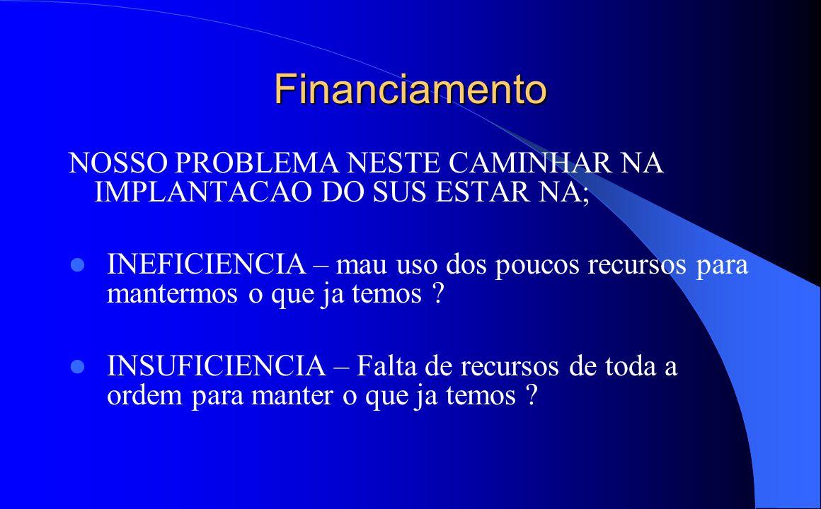 Financiamento NOSSO PROBLEMA NESTE CAMINHAR NA IMPLANTACAO DO SUS ESTAR NA; INEFICIENCIA – mau uso dos poucos recursos para mantermos o que ja temos ?