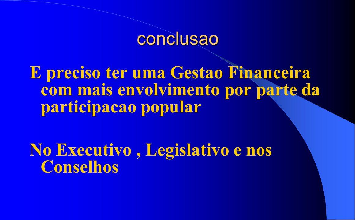 conclusao E preciso ter uma Gestao Financeira com mais envolvimento por parte da participacao popular No Executivo, Legislativo e nos Conselhos
