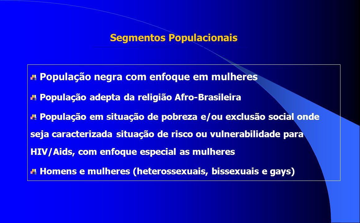 Segmentos Populacionais População negra com enfoque em mulheres População adepta da religião Afro-Brasileira População em situação de pobreza e/ou exc