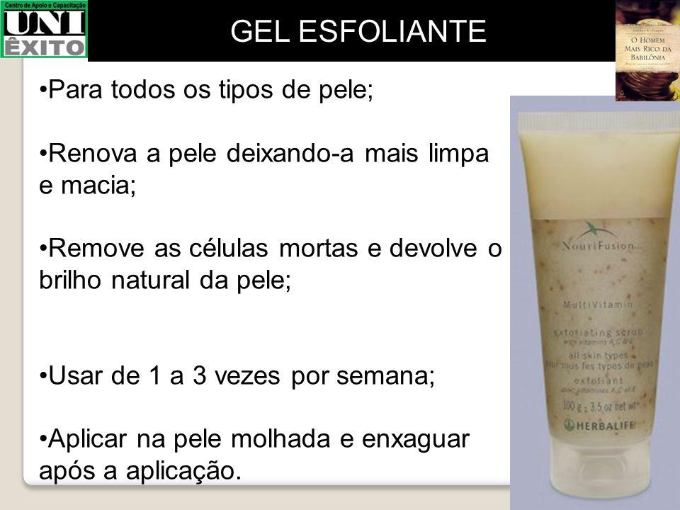 Para todos os tipos de pele; Renova a pele deixando-a mais limpa e macia; Remove as células mortas e devolve o brilho natural da pele; Usar de 1 a 3 v