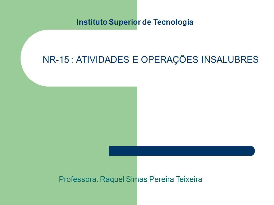 Instituto Superior de Tecnologia Professora: Raquel Simas Pereira Teixeira NR-15 : ATIVIDADES E OPERAÇÕES INSALUBRES