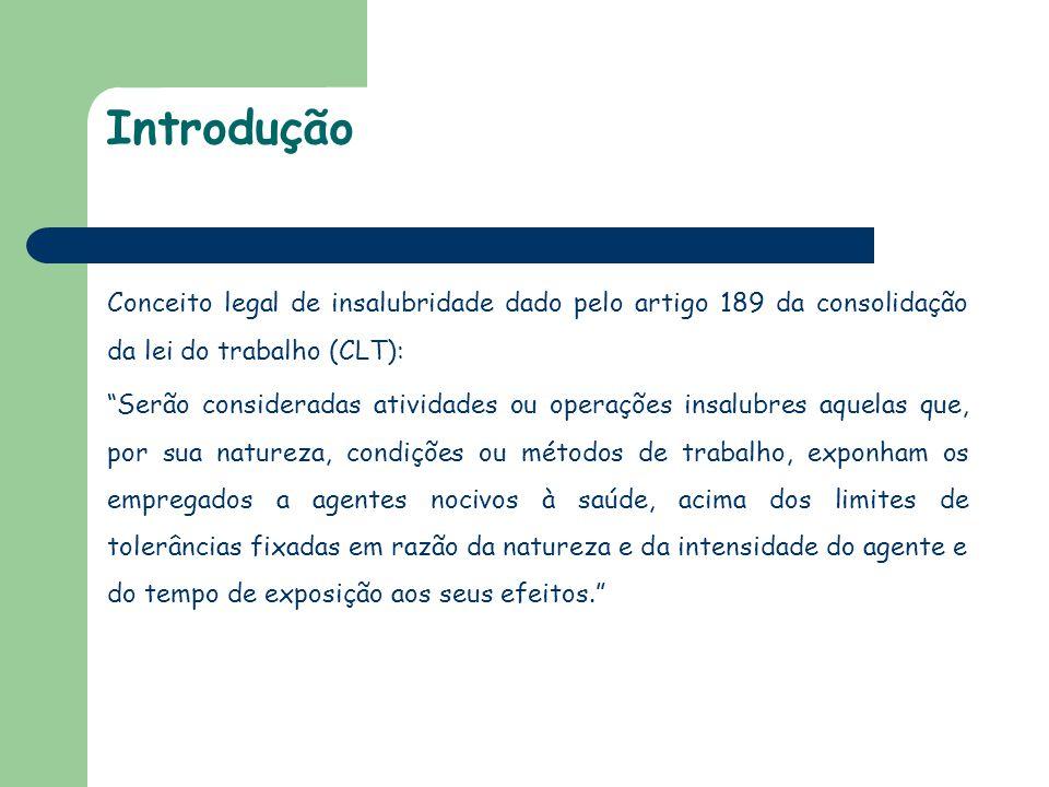 """Introdução Conceito legal de insalubridade dado pelo artigo 189 da consolidação da lei do trabalho (CLT): """"Serão consideradas atividades ou operações"""