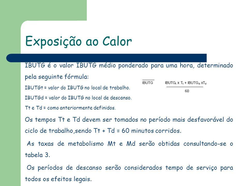 Exposição ao Calor IBUTG é o valor IBUTG médio ponderado para uma hora, determinado pela seguinte fórmula: IBUTGt = valor do IBUTG no local de trabalh