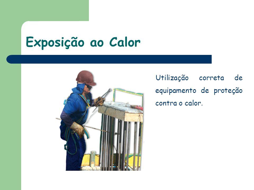 Utilização correta de equipamento de proteção contra o calor.