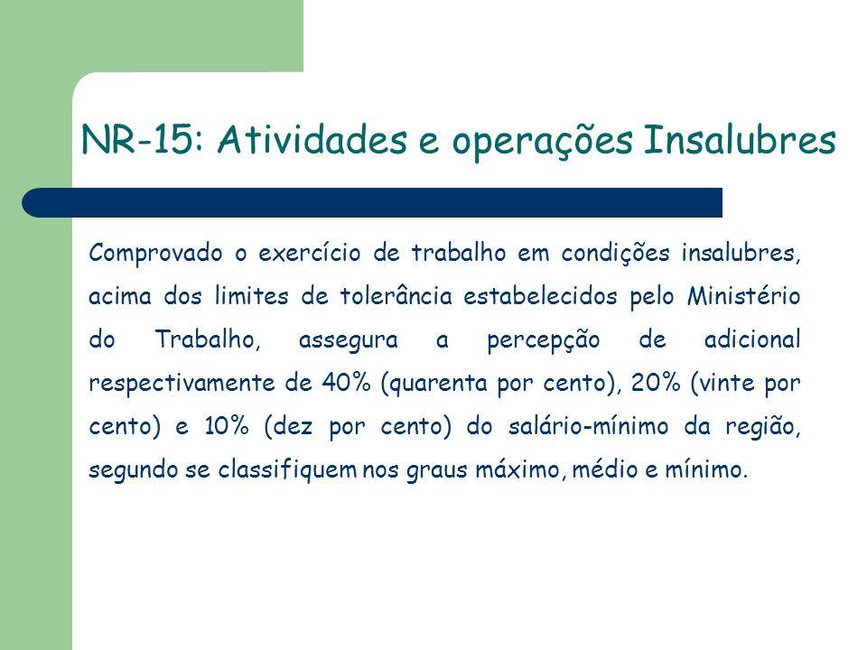 NR-15: Atividades e operações Insalubres Comprovado o exercício de trabalho em condições insalubres, acima dos limites de tolerância estabelecidos pel
