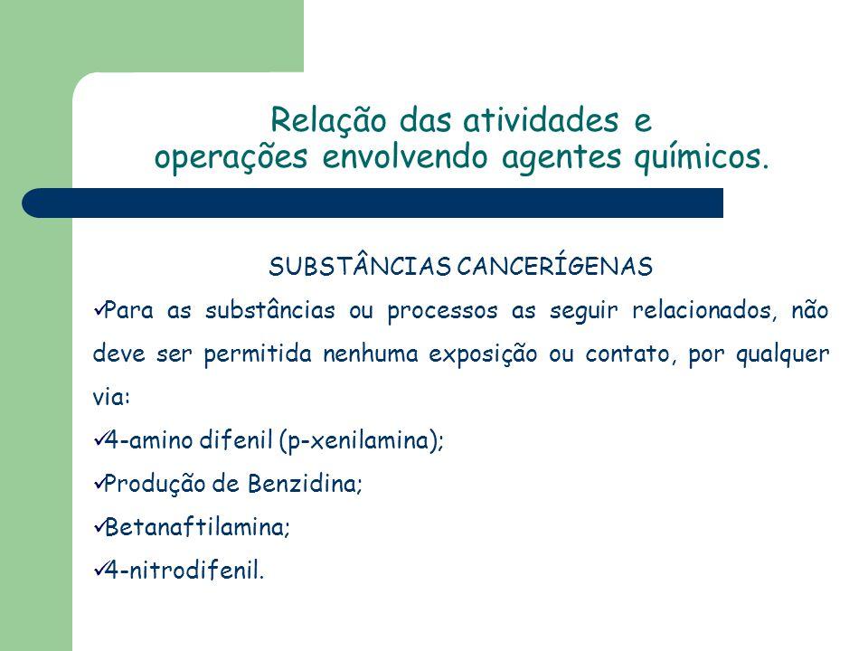 SUBSTÂNCIAS CANCERÍGENAS Para as substâncias ou processos as seguir relacionados, não deve ser permitida nenhuma exposição ou contato, por qualquer vi