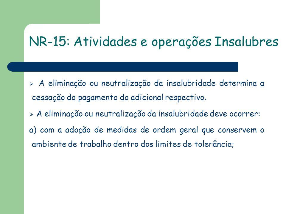 NR-15: Atividades e operações Insalubres  A eliminação ou neutralização da insalubridade determina a cessação do pagamento do adicional respectivo. 