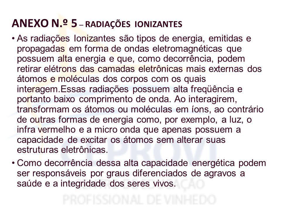 ANEXO N.º 5 – RADIAÇÕES IONIZANTES As radiações Ionizantes são tipos de energia, emitidas e propagadas em forma de ondas eletromagnéticas que possuem alta energia e que, como decorrência, podem retirar elétrons das camadas eletrônicas mais externas dos átomos e moléculas dos corpos com os quais interagem.Essas radiações possuem alta freqüência e portanto baixo comprimento de onda.