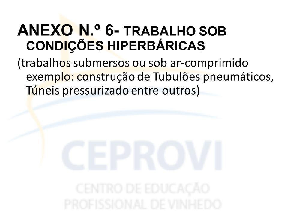 ANEXO N.º 6- TRABALHO SOB CONDIÇÕES HIPERBÁRICAS (trabalhos submersos ou sob ar-comprimido exemplo: construção de Tubulões pneumáticos, Túneis pressurizado entre outros)