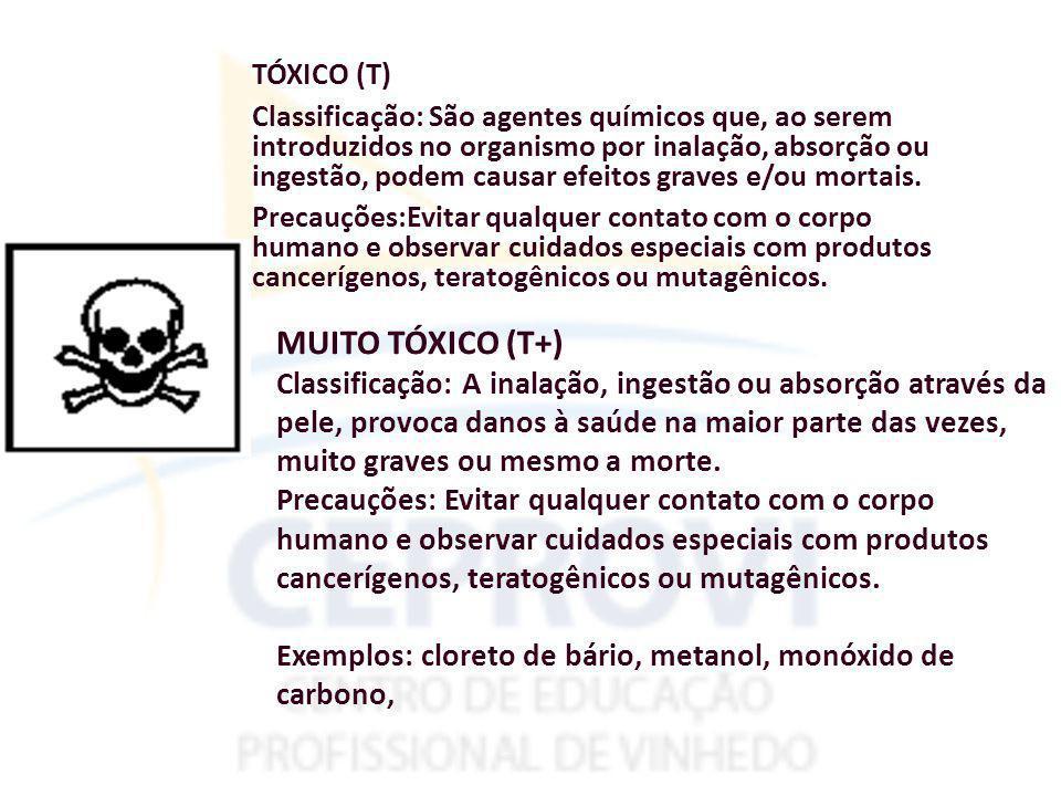 TÓXICO (T) Classificação: São agentes químicos que, ao serem introduzidos no organismo por inalação, absorção ou ingestão, podem causar efeitos graves e/ou mortais.
