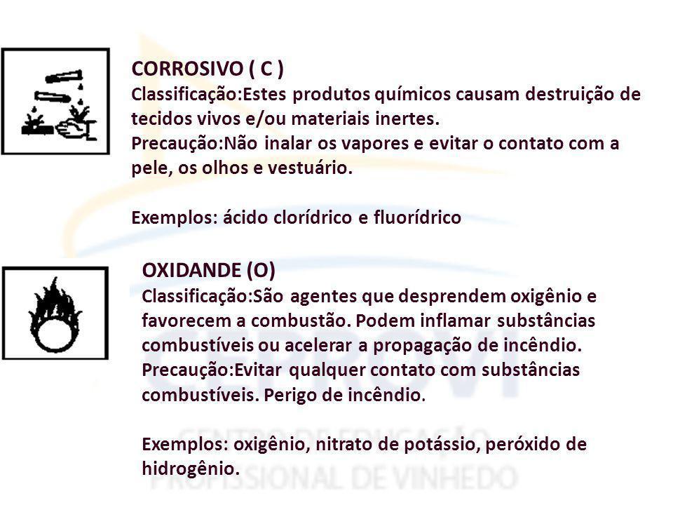 CORROSIVO ( C ) Classificação:Estes produtos químicos causam destruição de tecidos vivos e/ou materiais inertes.