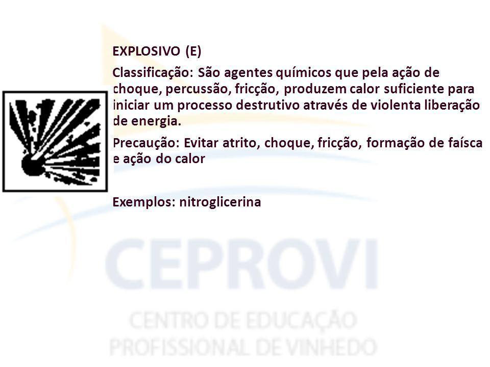 EXPLOSIVO (E) Classificação: São agentes químicos que pela ação de choque, percussão, fricção, produzem calor suficiente para iniciar um processo destrutivo através de violenta liberação de energia.