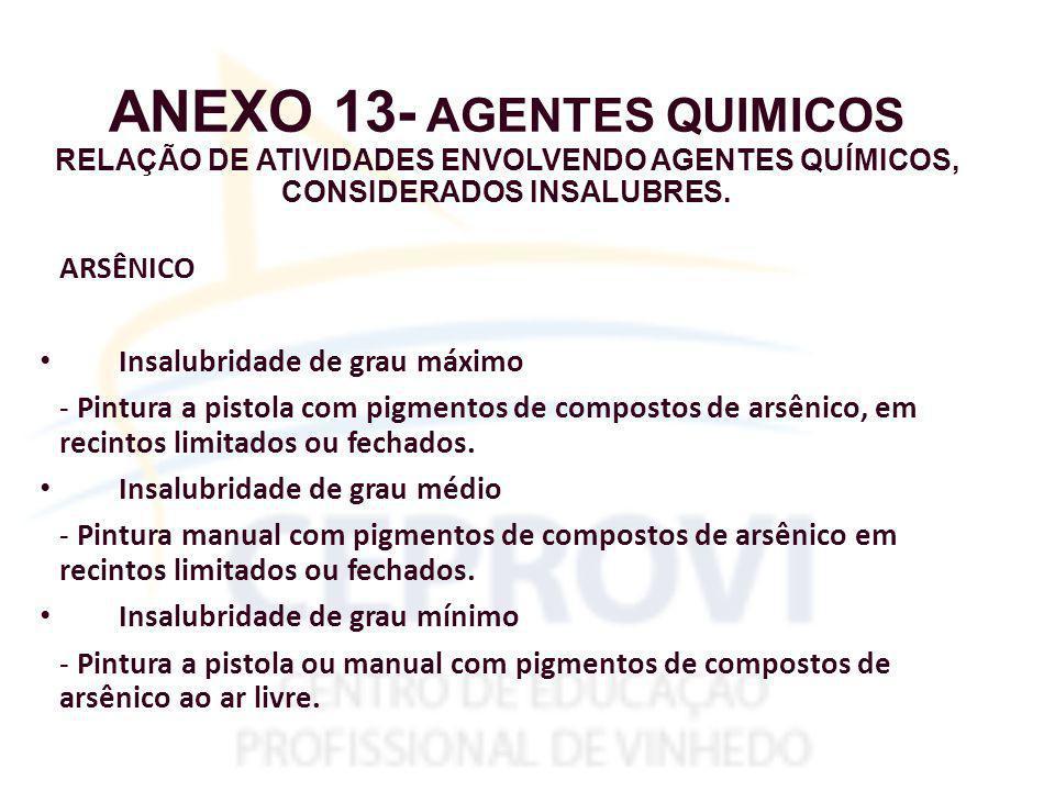 ANEXO 13- AGENTES QUIMICOS RELAÇÃO DE ATIVIDADES ENVOLVENDO AGENTES QUÍMICOS, CONSIDERADOS INSALUBRES.