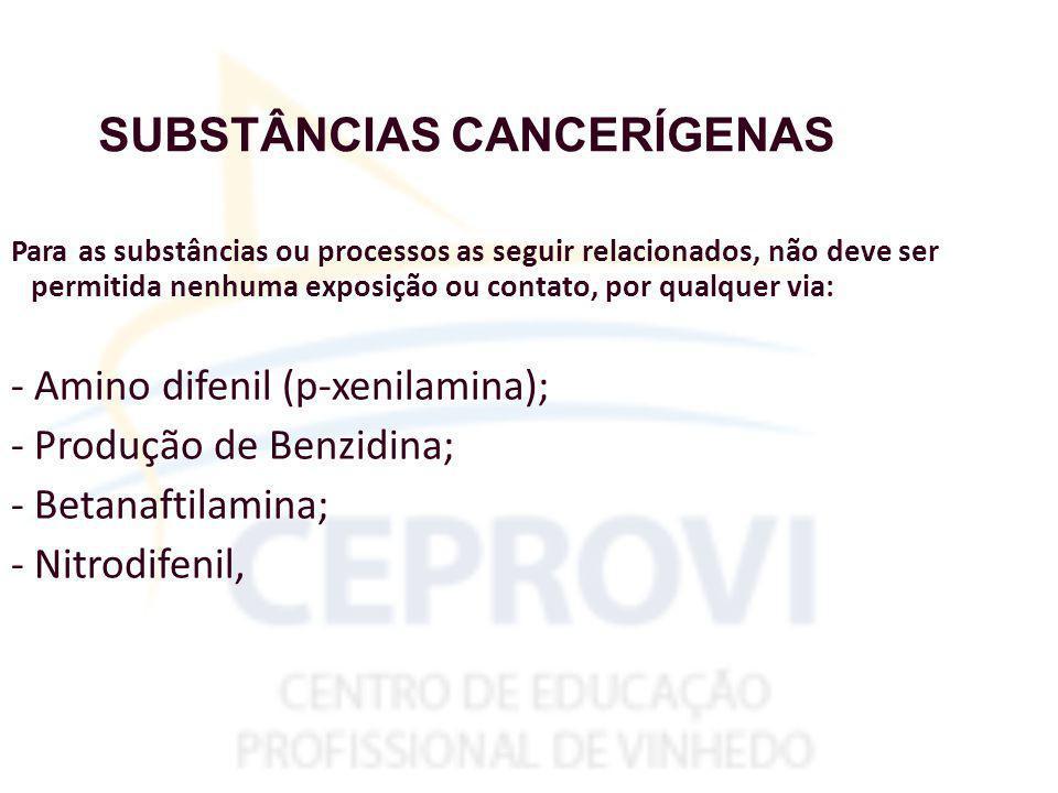 SUBSTÂNCIAS CANCERÍGENAS Para as substâncias ou processos as seguir relacionados, não deve ser permitida nenhuma exposição ou contato, por qualquer via: - Amino difenil (p-xenilamina); - Produção de Benzidina; - Betanaftilamina; - Nitrodifenil,