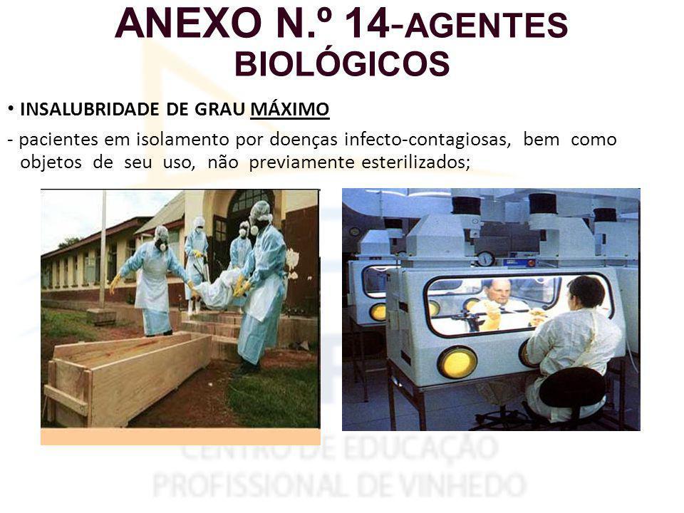 ANEXO N.º 14- AGENTES BIOLÓGICOS INSALUBRIDADE DE GRAU MÁXIMO - pacientes em isolamento por doenças infecto-contagiosas, bem como objetos de seu uso, não previamente esterilizados;