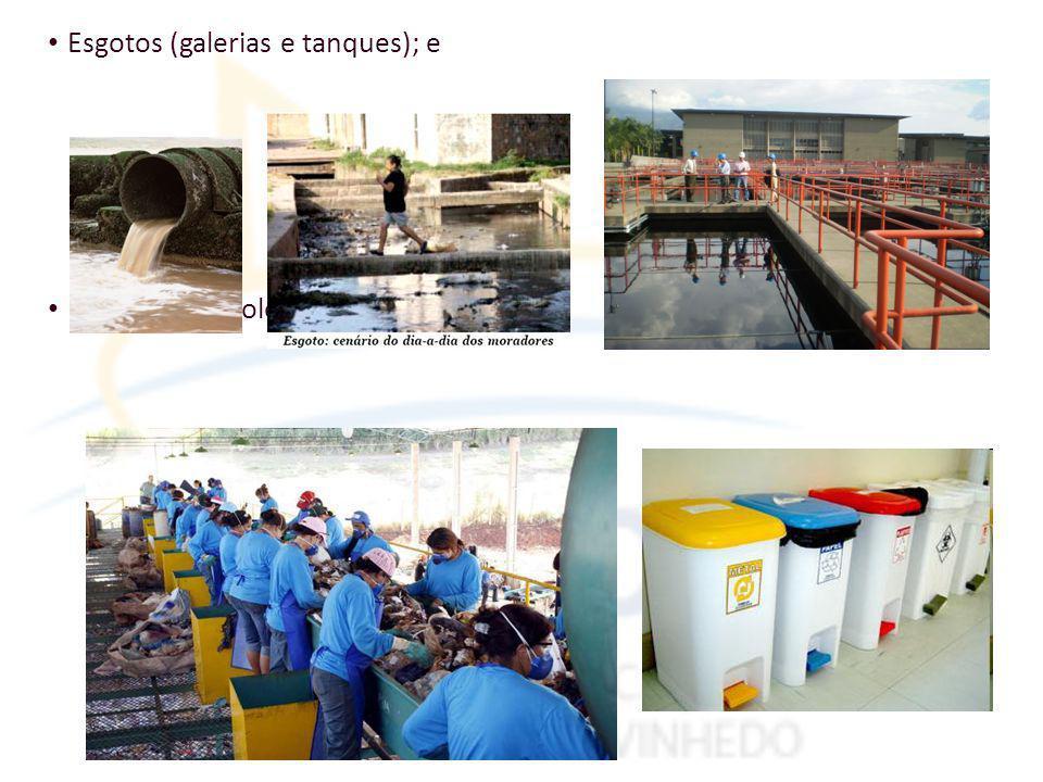 Esgotos (galerias e tanques); e Lixo urbano (coleta e industrialização).