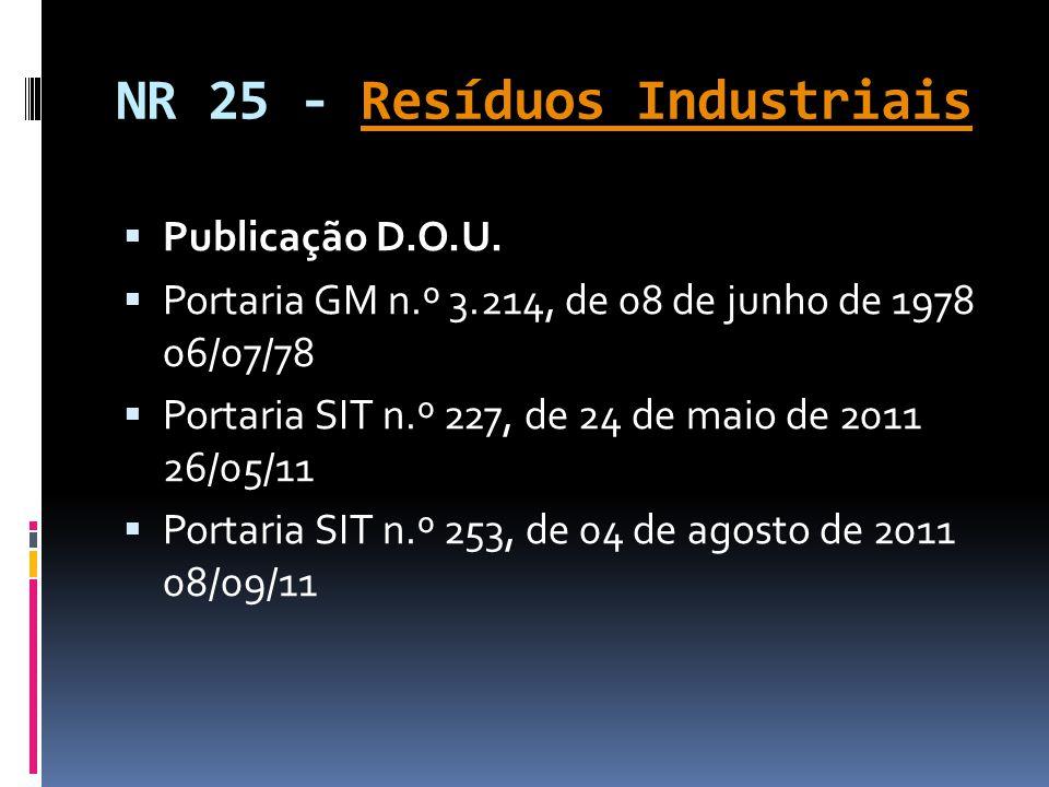 NR 25 - Resíduos IndustriaisResíduos Industriais  Publicação D.O.U.  Portaria GM n.º 3.214, de 08 de junho de 1978 06/07/78  Portaria SIT n.º 227,