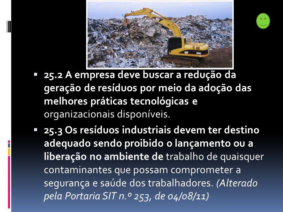  25.2 A empresa deve buscar a redução da geração de resíduos por meio da adoção das melhores práticas tecnológicas e organizacionais disponíveis.  2